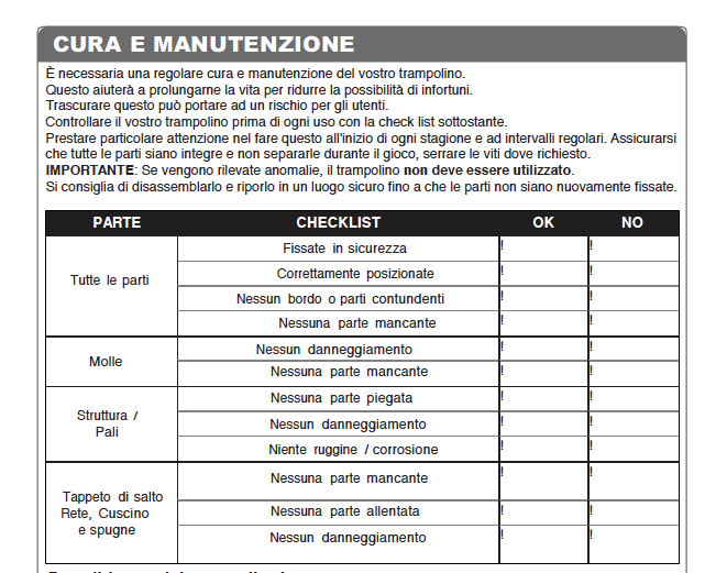 manuale jumpking check list